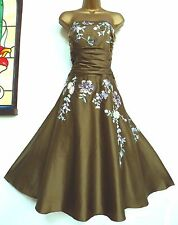 MONSOON ✩ STUNNING YASMIN OLIVE GREEN EMBROIDERED SILK COCKTAIL DRESS ✩ UK 20