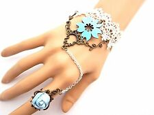 WHITE & BLUE LACE flowers Alice SLAVE BRACELET sissy lolita lace cuff & ring P1