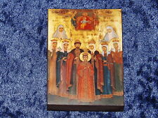 ORTHODOX RUSSIAN WOOD ICON - LAST RUSSIAN EMPEROR WITH FAMILY
