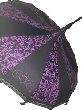 HILARY'S VANITY PAGODA SHAPED UMBRELLA PURPLE SWIRL WITH LACE, BOWS & A HOOK HAN