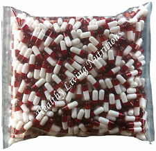 1000 EMPTY GELATIN CAPSULES gel ~SIZE 0 ~ Colored White/Red (Kosher/Halal))
