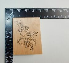 Make An Impression Catherine Mc Niel Christmas Fairy Holly Berries Rubber Stamp