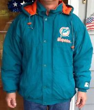 Vintage Starter Miami Dolphins Puffy Jacket Sz Med Hoodie Quilted NFL Team Wear