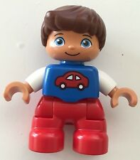 *NEW* Lego DUPLO BOY RED Legs BLUE Top w RED CAR Pattern WHITE Arms BROWN Hair