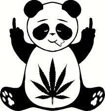 Pot Leaf Panda Decal Vinyl Home Decor Hippie Sticker MARIJUANA Middle Finger 420