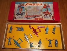 VINTAGE CRESCENT TOYS SOLDIERS - AIR TRAFFIC CONTROL PLANE SET RARE 1950's