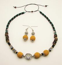 Volcanic Rock Lava Gemstone Wood Ladies Necklace and Earring Jewellery Set