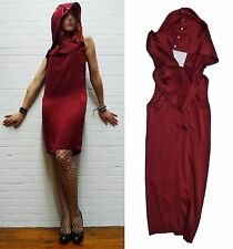 RARE wine SATIN SILK cocktail party draped cowl/hoody DRESS Ann Demeulemeester S