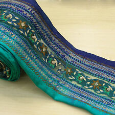 Indian Vintage Sari Border Blue Embroidered 1YD Trim Sewing Used Ribbon Lace