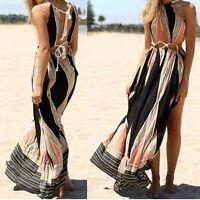 Sexy Women Summer BOHO Sleeveless Long Maxi Evening Party Beach Dress Sundress