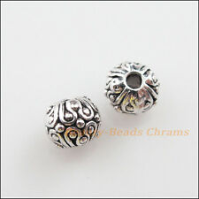 15Pcs Tibetan Silver Tone Round Ball Flower Spacer Beads Charms 6mm