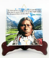 Native Americans Ceramic Tile Crazy Horse with quote Hand Made Indians