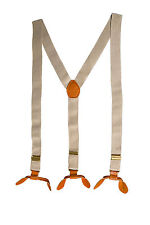 Beige Unisex Suspender Braces Adjustable Leather Button Holes Lycra/Elastane UK