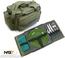 CARP FISHING INSULATED CARRYALL HOLDALL TACKLE BAG + CAMPING PICNIC SET IN CASE