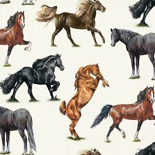 HORSE BREEDS ALLOVER CREAM FABRIC MATERIAL COTTON, From Elizabeths Studio NEW