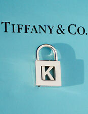 "Tiffany & Co Silver NOTES Inital Alphabet ""K"" Padlock Charm Side Opening ONLY"