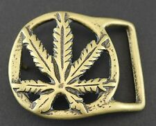 MARIJUANA BELT BUCKLE CANNABIS HEMP POT 420 WEED HIPPIE BRASS VINTAGE STYLE