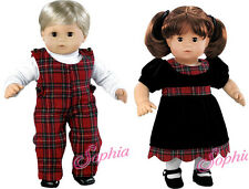 Matching Boy Girl Plaid/Velvet Holiday Outfits for Bitty Baby Twins Doll Clothes