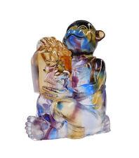 Chinese Liuli Crystal Glass Pate-de-verr  Monkey  Figures cs1587