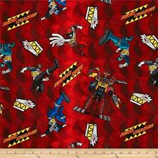 "Power Rangers Dino Charge Red 100% cotton 43"" Fabric by the yard"