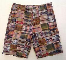 American Eagle Shorts Men's 32 Madris Plaid Patchwork Flat Front AE 100% Cotton