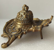 Antique brass inkwell Rococo Victorian style vintage desk-top item Metal ware