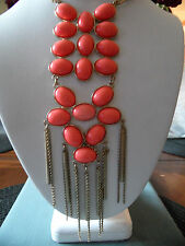CHICOS Chunky Big  Run way Coral Bead Cabochon Lucite Necklace Gold Tone