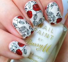 BORN PRETTY Nail Art Water Decals Transfer Stickers Red Rose Flower Tips W06