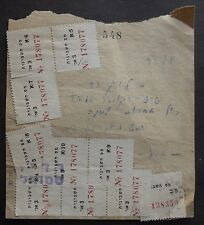 ISRAEL RARE RECEIPT RADIO FIRM WITH 10 TABS OF REVENUE TAX STAMPS MAS HESHBONOT