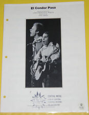 El Condor Pasa – Simon & Garfunkle 1970 Sheet Music! Great Picture! SEE!