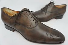 Santoni Stafford Cap Toe Oxford Dark Brown Calf Leather Shoes Size 11 D $795+