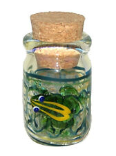 Hand Blown 3-D Frog Glass Herb Spice Pipe Tobacco Coin Jar Fitted Cork