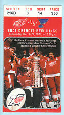 Detroit Red Wings 75th Anniversary Ticket, Steve Yzerman, Konstantinov & the Cup