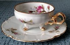Dainty Porcelain CUP and SAUCER ~ Pink Roses ~ Gold Borders, Handle, 3 Ball Feet