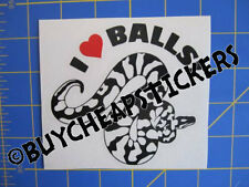 Ball Python Snake Decal I Love Balls! -Vinyl Decal - Sticker 4x4 - Black