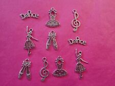 Tibetan Silver Mixed Ballerina/Dance Themed Charms 10 per pack