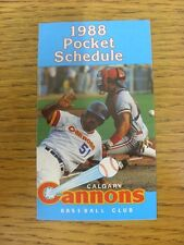 1988 Fixture Card: Baseball - Calgary Cannons (fold out style). Any faults with