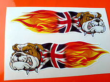 Britannico Bulldog Union Jack FIAMME AUTO MOTO ADESIVI DECALCOMANIE 2 OFF 100mm