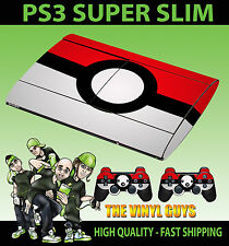 PLAYSTATION PS3 SUPER SLIM POKEBALL POKEMON GO SKIN STICKER + 2 X PAD SKINS