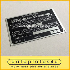 DATA PLATE F-3 TRUCK FORD MOTOR COMPANY F-SERIES PICK-UP ID TAG 1957-1960