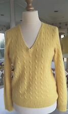 BNWT-RALPH LAUREN Yellow Cable 100% Cashmere V-Neck Sweater-XL-UK 16-18-RRP £329