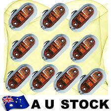 10X Amber Side Light LED Marker Trailer Boat Clearance Lamp Round Chrome AU Ship