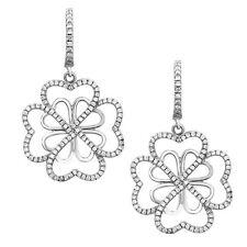 Heart CZ Earrings .925 Sterling Silver Love Heart Earrings Heart Flower Earrings