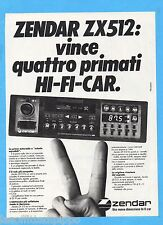 QUATTROR983-PUBBLICITA'/ADVERTISING-1983- ZENDAR ZX512 - HI FI CAR