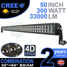 "4D 52"" 300w cree led light bar combo IP68 conduite en alliage léger off road 4WD bateau"