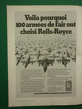 3/1982 PUB ROLLS-ROYCE MILITARY ENGINES MOTEURS AVIATION TORNADO HAWK HARRIER AD