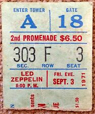 LED ZEPPELIN TICKET STUB. MADISON SQUARE GARDEN 9/3/71