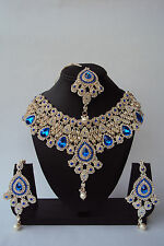 Ethnic Indian Bollywood Bridal Gold Tone Wedding Fashion Jewelry Necklace Set