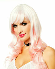 Long White with Icy Pink Dream Girl Adult Costume Wig with Bangs