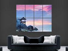 Mer océan rochers magnifique coucher de soleil poster art mural grande image géante énorme